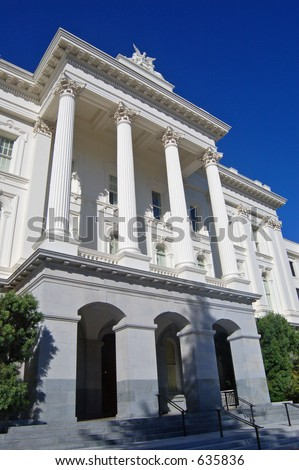 The side of the state Calitol Building in Sacramento, California - stock photo