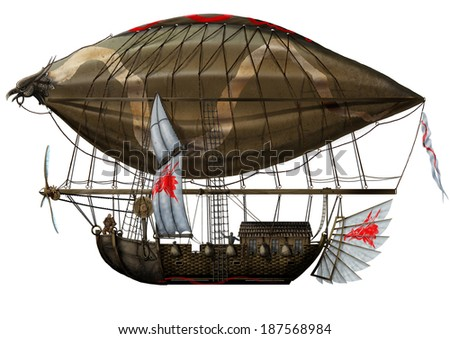 The Side View Grunge old military fantastic Zeppelin - stock photo