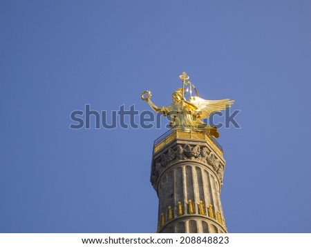 The Siegessaeule (Berlin Victory Column) in Berlin, Germany. The Victory Column stands in Tiergarten, is one of the most representative landmarks in Berlin.