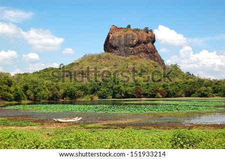 The Sigiriya (Lion's rock) is an ancient rock fortress and palace ruins, Sri Lanka - stock photo