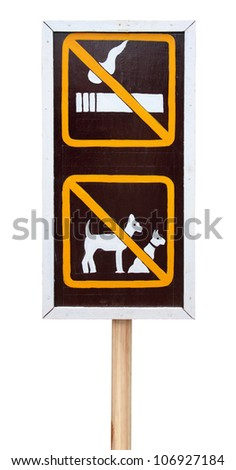 The sign  no smoking and no dog on this area - stock photo