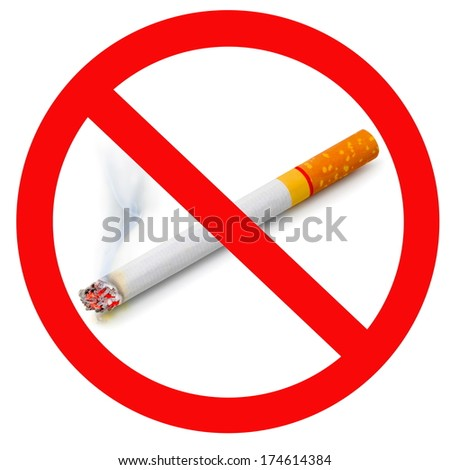 The sign no smoking. Illustration on white background no smoking sign with cigarette  - stock photo