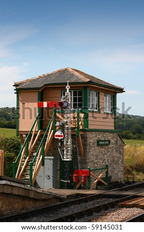 The signal box at Harmans Cross Station, part of the Swanage steam railway network in Dorset.  located at the end of the station platform.