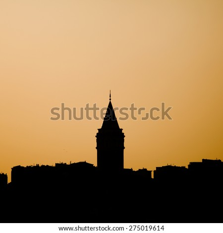 The Silhouette Galata Tower. The Silhouette of Istanbul, Turkey. - stock photo
