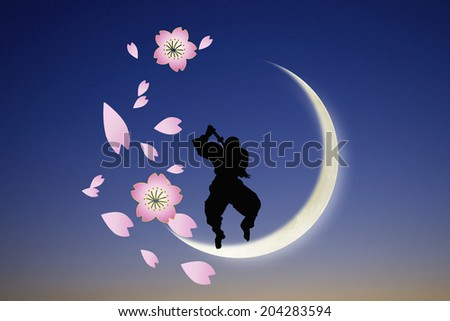 The Silhouette Of A Ninja - stock photo