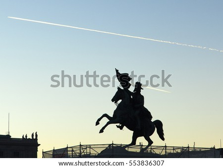 The silhouette of a statue of first Austrian general that won against Napoleon (Vienna, Austria).