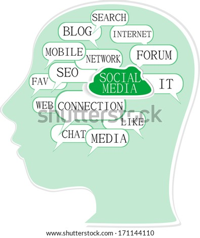 the silhouette of head with the words on the topic of social networking - stock photo