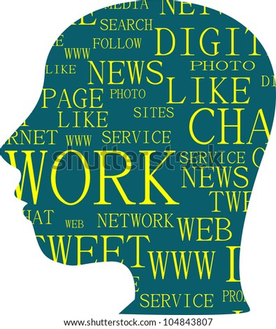 the silhouette of head with the words on the topic of social networking - raster