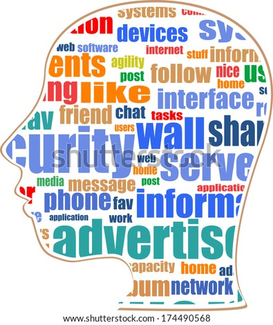 the silhouette of his head with the words on the topic of social networking - stock photo
