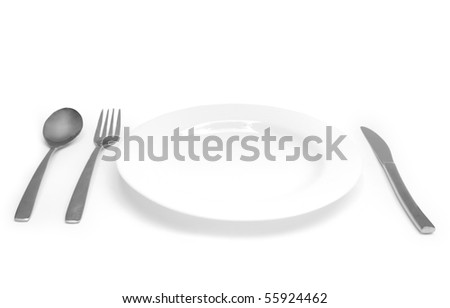 The Silver plug and spoon isolated on grey background