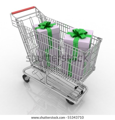 The silvery store cart full of gifts