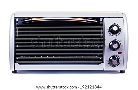 The silvery stove oven isolated on white background - stock photo