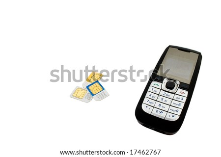 The sim cards and mobile phone isolated - stock photo