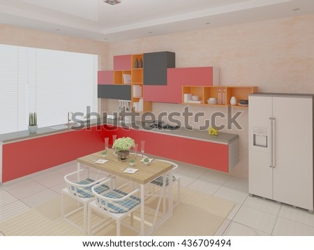 The simple design of the kitchen in the style of minimalism, 3d rendering. - stock photo