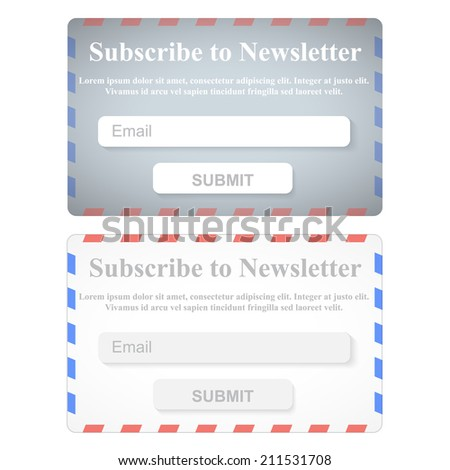 The Simple Gray Subscribe to Newsletter Form. Web Site Design. - stock photo