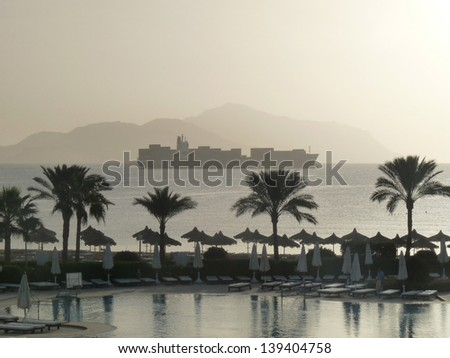 The Sinai Peninsula, sea before the storm sandy. - stock photo