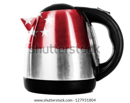The Singapore flag  painted on shiny metallic kettle