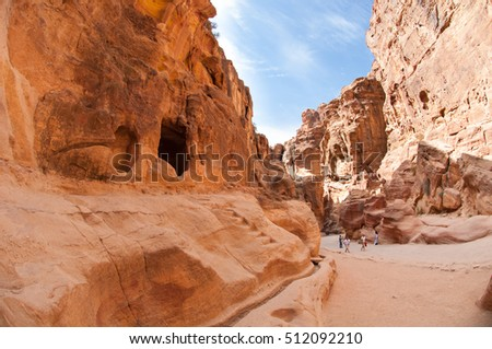 The Siq, the narrow slot-canyon that serves as the entrance passage to Petra city, Jordan