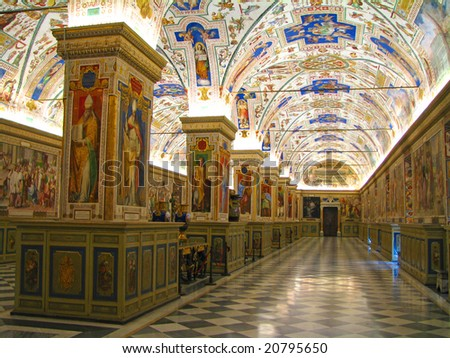 The Sistine Hall of the Vatican Library. the library of the Holy See, currently located in Vatican City, is one of the oldest libraries in the world. - stock photo