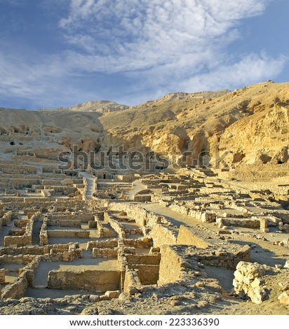 The site Deir al-Medina, Ancient Egyptian workers' town near the Valley of Kings at Luxor. Egypt, UNESCO World Heritage Site - stock photo