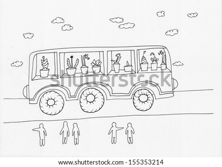 The sketched illustration of a fantasy bus (transport) on the road with people observing it, on the white background - stock photo