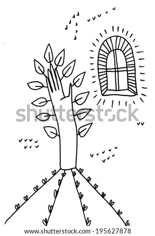 The sketched illustration of a fantasy hand made like a tree and a window hand drawn with the ink pen  - stock photo