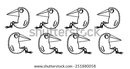 The sketched illustration of eight funny crows sitting in two lines made manually with the ink pen on the white background - stock photo