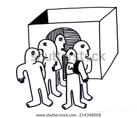 The sketched illustration of the group of people standing near the box hand drawn with the ink pen - stock photo