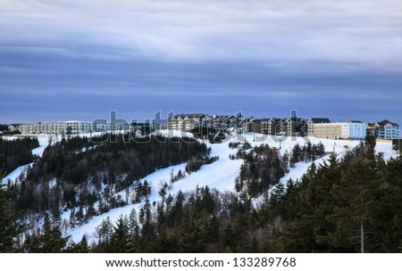 The ski resort at Snowshoe, WV after a fresh snow. - stock photo
