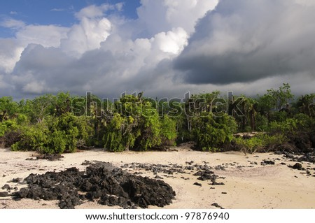 The sky darkens as a storm covers San Cristobal Island, the Galapagos. Trees, shrubs, and tall prickly pear cacti line the lava rock strewn beach. - stock photo