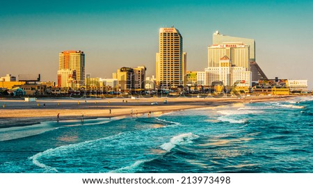 The skyline and Atlantic Ocean in Atlantic City, New Jersey. - stock photo