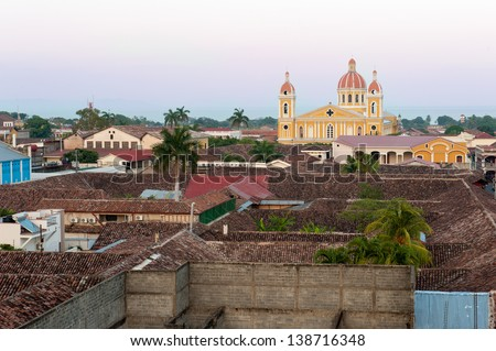 The skyline and colors of Granada, Nicaragua - stock photo