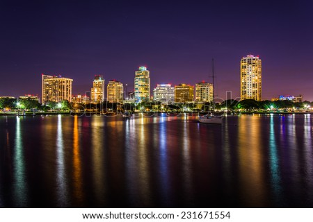 The skyline at night seen from Spa Beach Park, in Saint Petersburg, Florida.