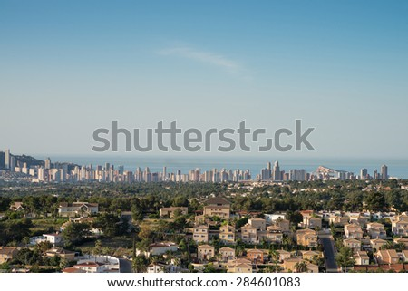 The skyline of Benidorm and its surrounding residential areas