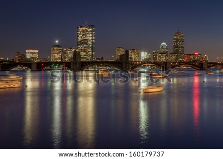 The skyline of Boston during fall