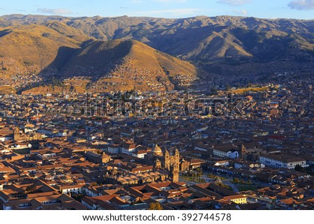 The skyline of Cusco at sunset, Peru.  - stock photo