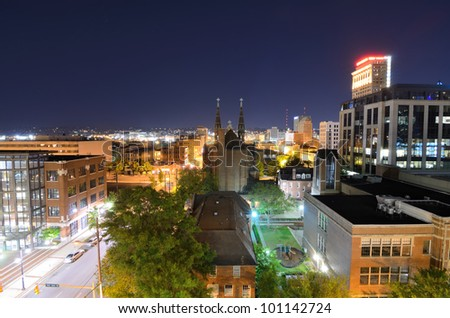 the skyline of downtown Birmingham, Alabama, USA. - stock photo