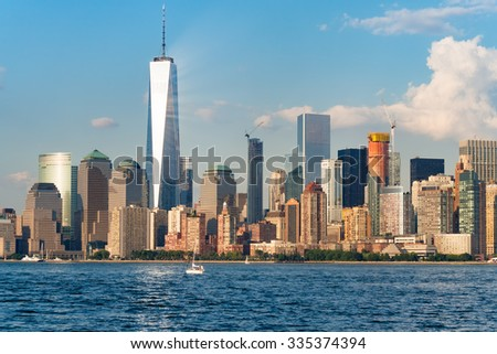 The skyline of downtown Manhattan in New York City on a beautiful summer day - stock photo