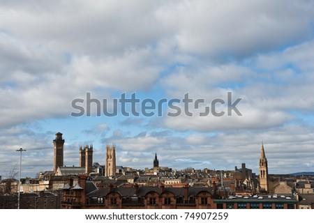 The skyline of Glasgow, Scotland - stock photo