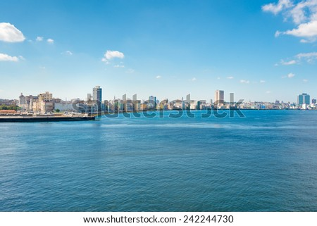 The skyline of Havana with a view of the ocean - stock photo