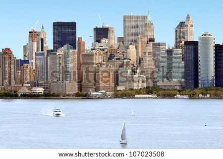 The skyline of Manhattan New York City from liberty Island,NYC USA. - stock photo