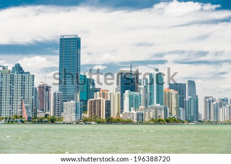 The skyline of Miami photographed from the bridge to Key Biscayne - stock photo