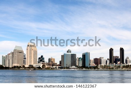 The skyline of San Diego with water in the front and cloudy blue sky in the background.