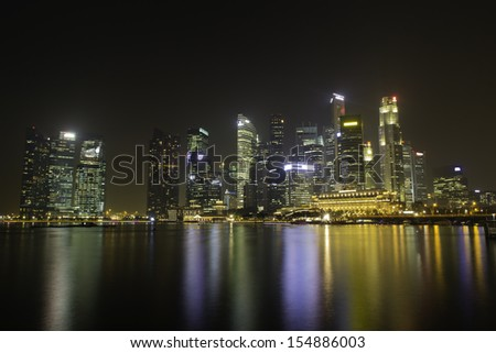 The Skyline of Singapore at night