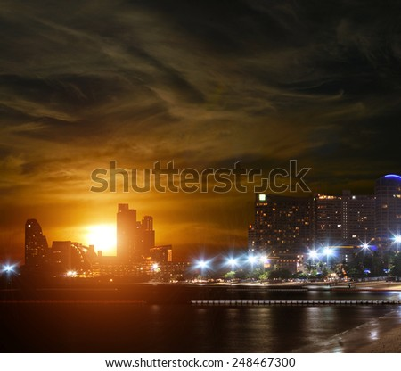 The Skyline of the downtown Bangkok - stock photo
