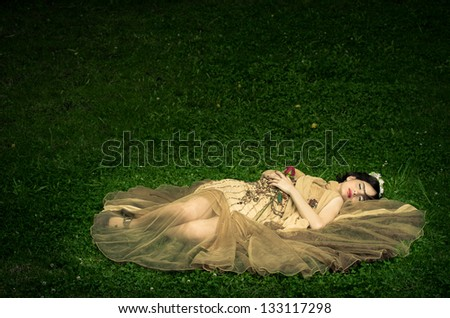The sleeping beauty lays on the grass - stock photo