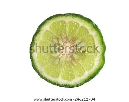 The slice of Kaffir lime - stock photo
