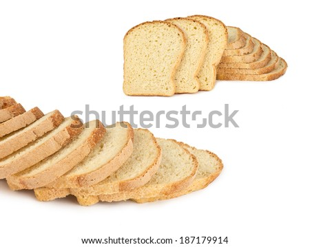 The sliced bread isolated on white background - stock photo