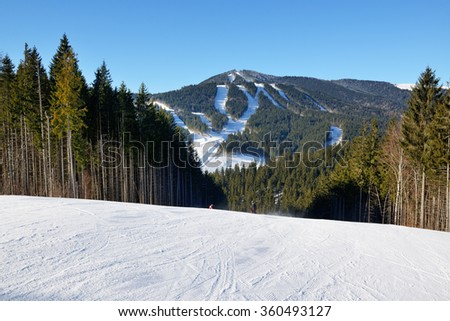 The slope of Bukovel ski resort, Ukraine