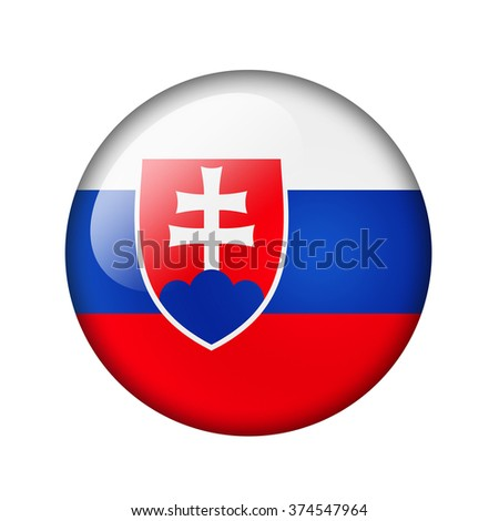 The Slovakia flag. Round glossy icon. Isolated on white background. - stock photo